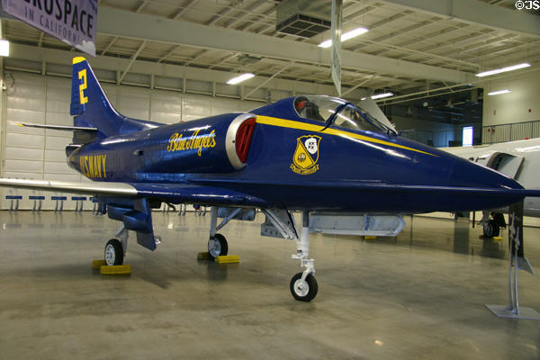 McDonnell-Douglas A-4C Skyhawk I (1957-70s) in Blue Angels paint at Aerospace Museum of California. Sacramento, CA.