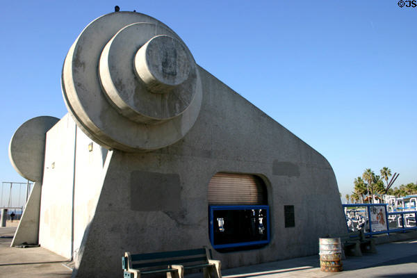 Muscle Beach exercise area building incorporates giant barbell weights. Venice, CA.