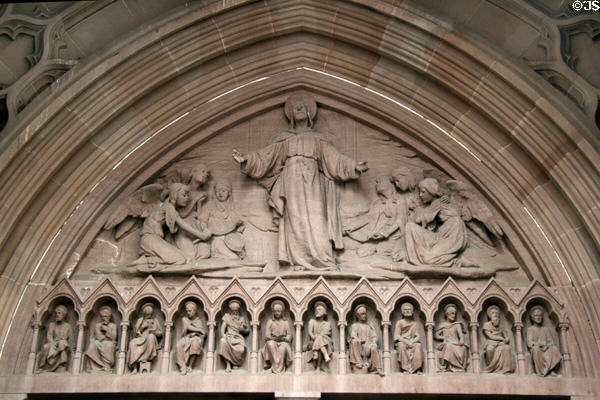 Tympanum of Christ & Disciples over doorway of Trinity Church. New York, NY.