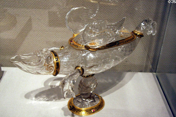 Italian rock crystal Ewer in form of dragon with enameled gold (c1600) at Toledo Museum of Art. Toledo, OH.