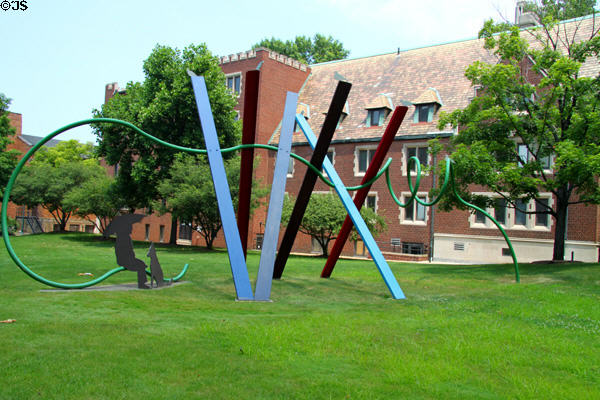 Snow Fence sculpture (1981) by Gene Kangas in Claud Foster Park at Case Western Reserve University. Cleveland, OH.