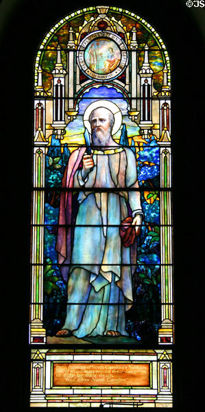St. Bartholomew stained glass for North Carolina by Louis Comfort Tiffany at Blandford Church. Petersburg, VA.