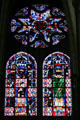 Stained glass rose window of the seven arts in Cathedral St. Étienne. Auxerre, France.