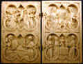 Carved ivory religious scenes in Tau Palace. Reims, France.