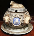 Stoneware tureen with cows by Villeroy & Boch of Mettlach, Germany at Yale University Art Gallery. New Haven, CT