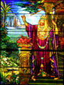 Stained glass window of King Solomon by Tiffany Studios at Stained Glass Museum. Chicago, IL.