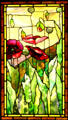 Stained glass window of poppies by Tiffany Studios at Stained Glass Museum. Chicago, IL.