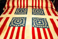 Quilt with U.S. flags made to support Harrison's presidential campaign at Benjamin Harrison Presidential Site. Indianapolis, IN.