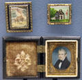 William Henry Harrison log cabin campaign pins plus miniature portrait of candidate Harrison at Grouseland. Vincennes, IN.