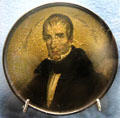 Snuff box with hand painted portrait of William Henry Harrison at Grouseland. Vincennes, IN.