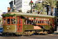 New Orleans streetcar rounds bend between Canal & St. Charles Street. New Orleans, LA.