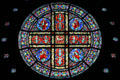 Stained glass rose window of disciples by Charles Connick at Cathedral of Saint Paul. St. Paul, MN.