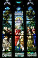 Christ gives Peter keys to Kingdom stained glass window of Cathedral of Saint Helena. Helena, MT