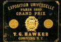 Paris World's Fair of 1889 grand prize awarded to T.G. Hawkes of Corning at Corning Museum of Glass. Corning, NY.
