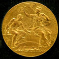 Paris World's Fair of 1889 gold medal awarded to T.G. Hawkes of Corning at Corning Museum of Glass. Corning, NY.