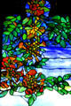 Detail of Louis Comfort Tiffany's Rochroane Castle stained glass window at Corning Museum of Glass. Corning, NY.