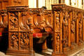 Carved wooden pew in Riverside Church. New York, NY.