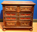 Chest of drawers in oak & pine from Massachusetts at Brooklyn Museum. Brooklyn, NY.