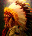 Portrait of Chief Yellow Shield-Sioux at Woolaroc Museum.