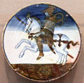 Earthenware plate with mounted knight design from Deruta & Gubbio, Italy at Carnegie Museum of Art. Pittsburgh, PA.