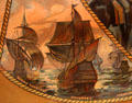 Jamestown ships Susan Constant, Godspeed & Discovery detail on Jamestown Exposition poster at Hampton Roads Naval Museum. Norfolk, VA.