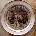 Jamestown commemorative plate in Jamestown National Park Museum. Jamestown, VA.