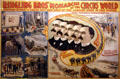 Poster of history of Ringling Bros circus from road show to rail show at Circus World Museum. Baraboo, WI.