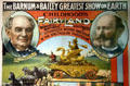 Portraits of P.T. Barnum & J.A. Bailey on 1887 poster at Circus World Museum. Baraboo, WI.