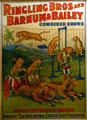Ringling Bros, Barnum & Bailey combined shows poster featuring leopard act at Circus World Museum. Baraboo, WI.