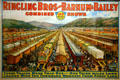 Poster showing 100 railway cars of Ringling Bros, Barnum & Bailey Circus which would stretch for 1.3 miles at Circus World Museum. Baraboo, WI.