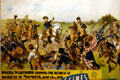 Details of poster for Adam Forepaugh's American Revolution pageant showing Washington stopping retreat of Monmouth at Circus World Museum. Baraboo, WI.