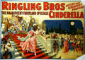 Lithograph for Ringling Bros spectacle of Cinderella at Circus World Museum. Baraboo, WI.