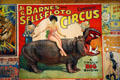 Poster of lady riding hippo in combined Barnes & Sells-Floto Circuses at Circus World Museum. Baraboo, WI.